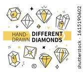 different diamonds   hand drawn ... | Shutterstock .eps vector #1615190602