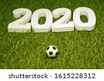 white 2020 with football on... | Shutterstock . vector #1615228312