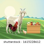 farming goat rooster chick...   Shutterstock .eps vector #1615228612