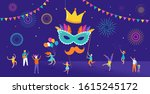 carnival  party  purim... | Shutterstock .eps vector #1615245172