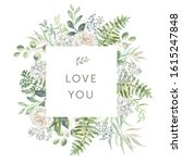 delicate bouquet of white... | Shutterstock .eps vector #1615247848