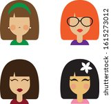 vector icons of girls of... | Shutterstock .eps vector #1615273012