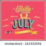 hello july typographic design.... | Shutterstock .eps vector #161532056