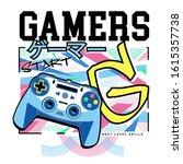 gamers typography with joystick ... | Shutterstock .eps vector #1615357738