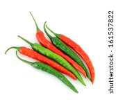 red and green chilli peppers on ... | Shutterstock . vector #161537822