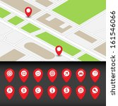 city map with navigation icons. ... | Shutterstock .eps vector #161546066