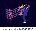 musician man with saxophone... | Shutterstock .eps vector #1615485958