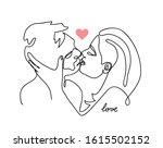 kissing couple  romantic vector ... | Shutterstock .eps vector #1615502152