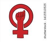 symbol of feminist movement.... | Shutterstock .eps vector #1615513525