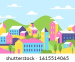 town houses architecture bright ... | Shutterstock .eps vector #1615514065