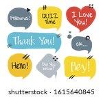 hand drawn set of speech... | Shutterstock .eps vector #1615640845