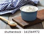 greek yogurt in a ceramic bowl... | Shutterstock . vector #161564972