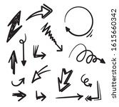 set of hand drawn vector arrows ... | Shutterstock .eps vector #1615660342