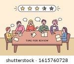 people are sitting at the table ... | Shutterstock .eps vector #1615760728