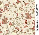 sweet tea seamless doodle... | Shutterstock .eps vector #161582762