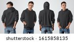 template of a black male hoodie ...   Shutterstock . vector #1615858135