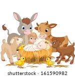 Holy Child With Donkey  Lambs ...