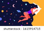 modern flat character. woman... | Shutterstock . vector #1615914715