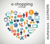 e shopping concept  icons... | Shutterstock .eps vector #161598398