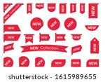 red gradient badges  labels or... | Shutterstock .eps vector #1615989655