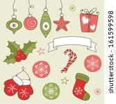 vintage winter holidays doodles ... | Shutterstock .eps vector #161599598