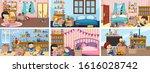 six scenes with children doing... | Shutterstock .eps vector #1616028742