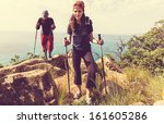 hiking man - stock photo