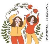 illustration of joyous dancing... | Shutterstock .eps vector #1616098972