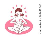 happy pregnant woman sitting in ... | Shutterstock .eps vector #161612348