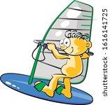 Sportsman On His Windsurf Board....