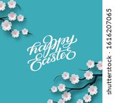 happy easter banner. holiday... | Shutterstock .eps vector #1616207065