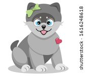 Cute Happy Grey Cartoon Puppy...