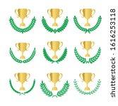 green realistic set of circular ... | Shutterstock .eps vector #1616253118