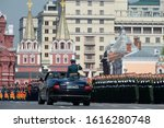 Small photo of MOSCOW, RUSSIA - MAY 7, 2019:Russian Defense Minister Sergei Shoigu hosts a parade in honor of Victory Day at a dress rehearsal on Red Square