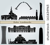 Stock vector doha landmarks and monuments isolated on blue background in editable vector file 161634965