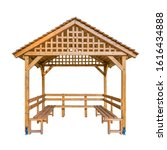 A Wooden Kiosk Isolated On...