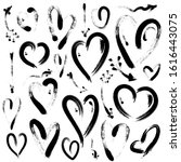 set of hand drawn hearts and... | Shutterstock . vector #1616443075
