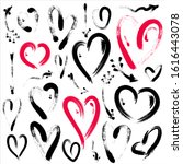 set of hand drawn heart and... | Shutterstock . vector #1616443078