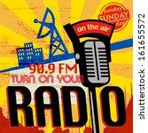 vintage radio poster  vector... | Shutterstock .eps vector #161655572