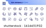 outline icons about sea animals.... | Shutterstock .eps vector #1616651932
