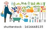 a male farmer with a shovel and ... | Shutterstock .eps vector #1616668135