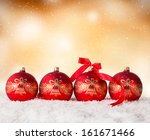 christmas decoration on snow... | Shutterstock . vector #161671466