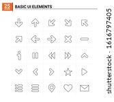 25 basic ui elements icon set....