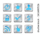 icon set on silver buttons. web ...