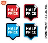 vector  half price stickers or... | Shutterstock .eps vector #161682506