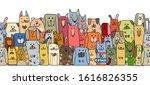 funny dogs family  seamless... | Shutterstock .eps vector #1616826355