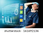 tired doctor in uniform in a... | Shutterstock . vector #161692136