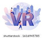 virtual reality concept. tiny... | Shutterstock .eps vector #1616945785