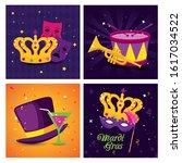 Mardi Gras Masks Crown Drum...