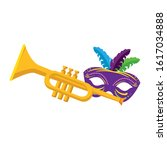 Mardi Gras Mask And Trumpet...